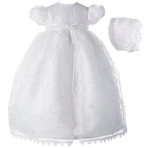 Lauren Madison Baby girl Christening Gown, White, 0-3 Months by Lauren Madison