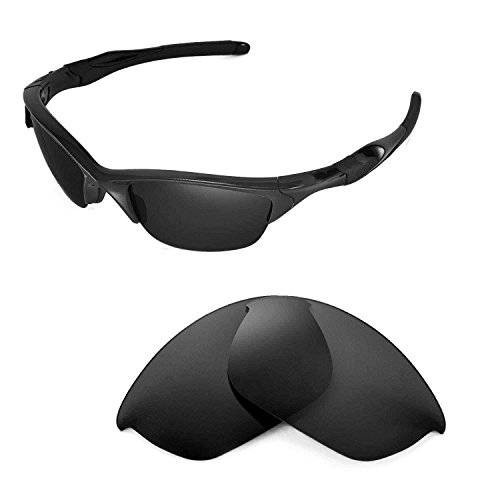 Walleva Polarized Black Replacement Lenses for Oakley Flak Jacket - Replacement For Oakley Lenses