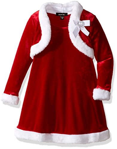 ZUNIE Little Girls' Toddler Velvet Santa Dress with Faux Fur Shrug and Bow, Red, 2T -