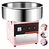 Cotton Candy Machine -Nurxiovo 21 Inch Tabletop Electric Large Commercial Cotton Candy Maker Stainless Steel Candy Floss Maker Machine with Sugar Scoop and Big Drawer Pink for Various Parties