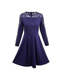 FANOUD Women's Casual Dress, Floral Formal Lace Vintage Short Sleeve Slim Dress