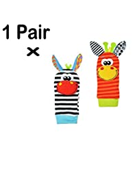 Cute Animal Soft Baby Socks Toys Wrist Rattles and Foot Finders Socks, Educational Development Soft Animal Toy Shower Gift
