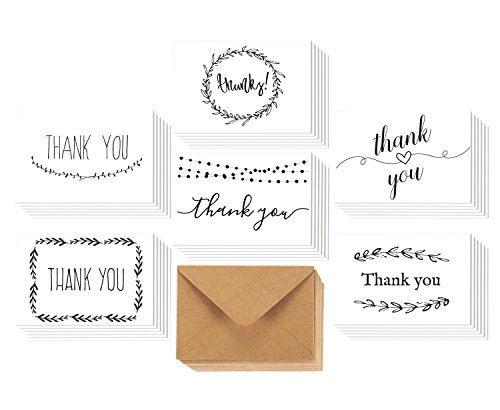 Bulk Thank You Card Set by Canwryn - Greeting Cards for All Occassions - 36 Assorted Note Cards - Blank inside - Matching Envelopes (not (Occassion Note Cards)