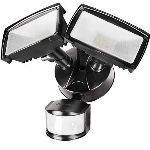 Amico 28W Motion Sensor Security Light, LED Security Light Lights Motion Outdoor 2700LM 6000K Waterproof IP65 Adjustable Floodlight ETL & DLC Certificated Flood Lights for Yard Garage (Black Floodlight)