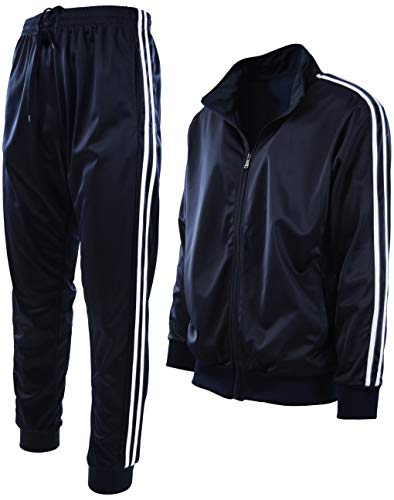 Mens Athletic 2 Piece Tracksuit Set (S, 888-Navy)