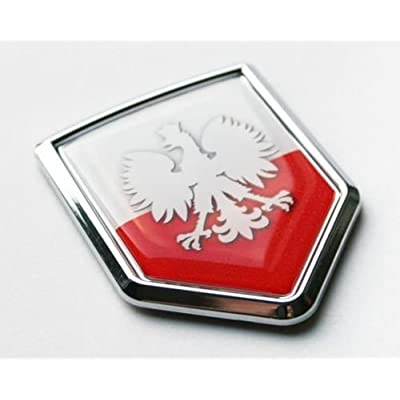 Car Chrome Decals CBSHD168W Poland White Eagle Flag Decal Car Chrome Emblem Sticker Polish Polska: Automotive