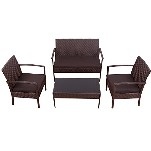 4 PCS Patio Rattan Wicker Furniture Set Loveseat Sofa Cushioned Garden Yard (Oak Steamer Trunk)