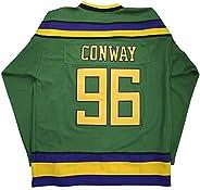 Custom Movie Jersey Charlie Conway #96 Mighty Ducks Ice Hockey Jersey White Green Purple