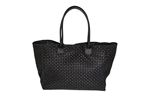 'bernstyn piel auténtica (Flechtwaren–Diseño) Lady Black multifunción bolso hombro carroun–Bolso