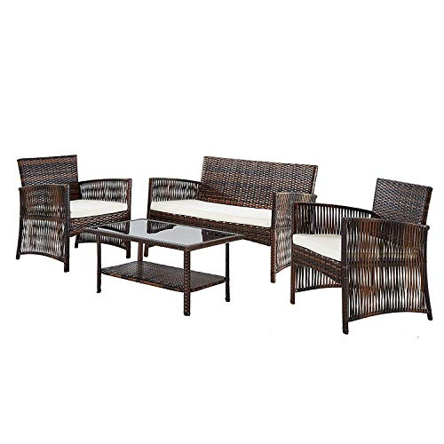 IDS Home 4 Piece Patio Furniture Set, Backyard Garden Outdoor Indoor Furniture Set,Rattan Wicker, 3 Sofa, Tempered Glass Table, White Cushion ()