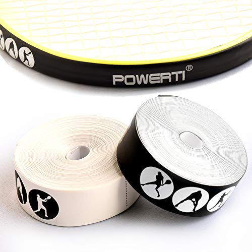 powerti Yixuan Tennis Racket Head Protection Tape 5M Soft Tennis Racquet Guard Tape-Set of 2,Black and White