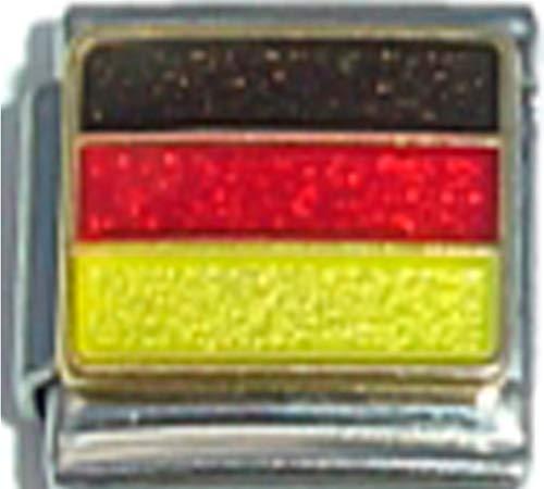 Stylysh Charms Germany German Flag Ceramic Italian 9mm Link PQ018
