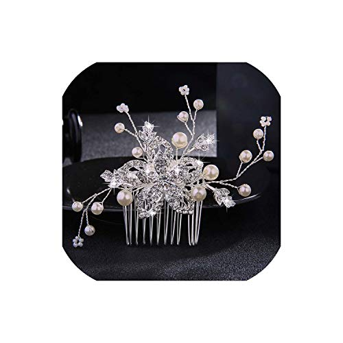 Perfect-Mood Wedding Crystal Peals Hair Combs Bridal Hair Clips Accessories Jewelry Handmade Women Head Ornaments Headpieces for Bride,HS-J1084-S]()