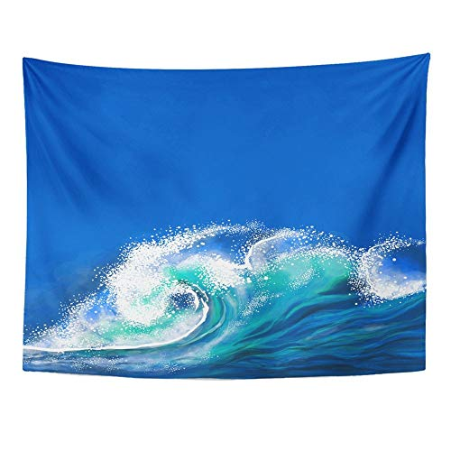 SPXUBZ Wall Tapestry Blue Surf Ocean Wave Sea Abstract Sky Cartoon Water Clip Clip Wall Hanging Decoration Soft Fabric Tapestry Perfect Print for House Rooms -