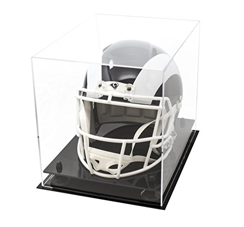 Deluxe Clear Acrylic Football Helmet Display Case with Black Risers (A002-BR) -
