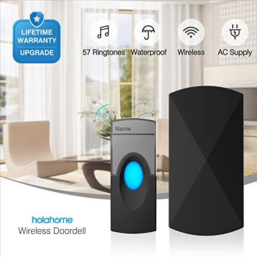 Wireless Doorbell Door Bell Kit - Push Button & Plug-in Receiver Portable Waterproof Remote Control for Home Chime Ringer Long Range 57 Ringtones -