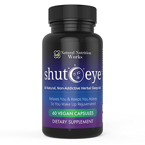 Shut-Eye- The Most Potent Natural Sleep Aid & Caffeine Neutralizer! All Natural Non-Addictive Herbal Complex w/Valerian, Melatonin & 11 More (Deep Relaxation and Sleep Or Your Money Back)