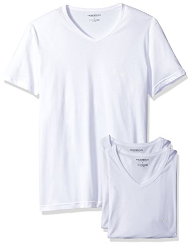 Emporio Armani Men's Cotton V-Neck Undershirts, 3-Pack, New White, X-Large
