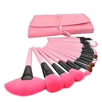 DMZK Brochas de Maquillaje Profesional Rosa 24pcs Cepillo de Maquillaje con Bolsa para Sombra de Ojos, Colorete, Cejas, Labios ect