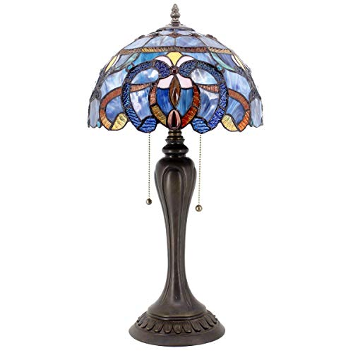 (Stained Glass Lamps Tiffany Style Table Lamp 22 Inch Tall 12 Inch Wide Blue Purple Cloudly Crystal Flower Shade 2 Light Pull Chain ForLiving Room Bedroom Coffee Desk Beside Dresser S558 WERFACTORY)