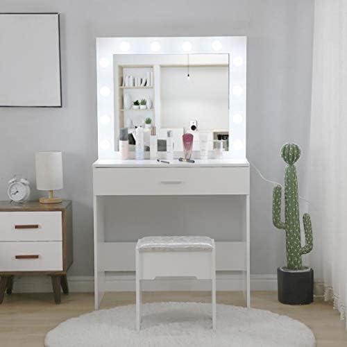 41MENSJV3ML. AC Vanity Set with Lighted Mirror, Makeup Vanity Dressing Table Dresser Desk with Large Drawer for Bedroom, Walnut Bedroom Furniture(12 Cool LED Bulbs) (White, A)    Product description