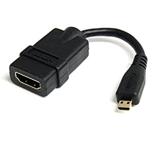 StarTech.com 5in High Speed HDMI Adapter Cable - HDMI to HDMI Micro - F/M - 5 inch Micro HDMI Adapter - HDMI Female to Micro HDMI Male