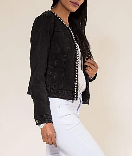 Femme Gilet Noir Coller Briller Court Veste Perles D2259 Jacket Blouson Jeans Oa1OFd