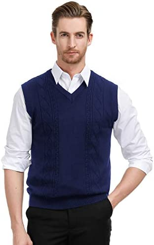 PJ PAUL JONES Men`s V Neck Sweater Vest Cable Knitted Pullover Sweaters Vest