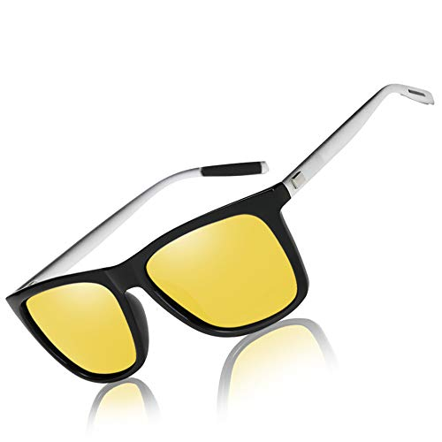 Mens Womens Classic Retro Night Vision Polarized Yellow Driving Glasses Anti-glare Rain Day Sun Glasses