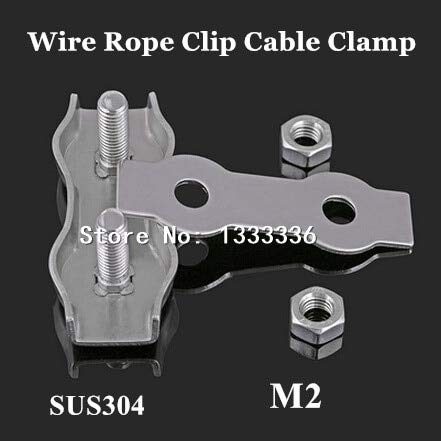 Ochoos 50pcs M2 Wire Rope Clip Cable Clamp 304 Stainless Steel Duplex 2-Post Wirerope Rigging Clamps Fastener