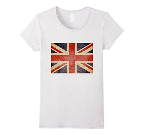 Womens Union Jack T-shirt Vintage UK Flag Tee British Retro Flag XL White