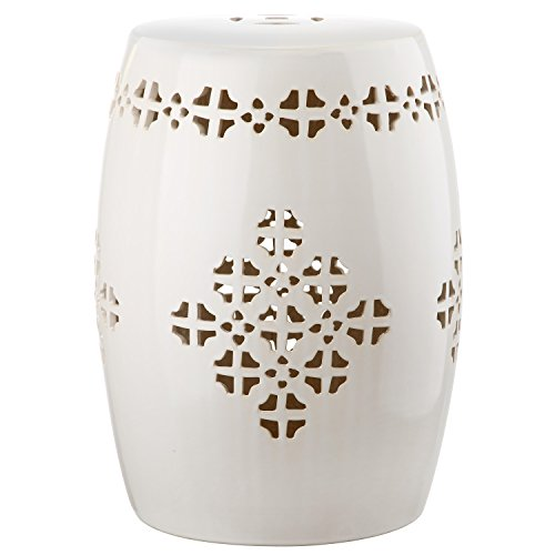 Safavieh Castle Gardens Collection Quatrefoil Cream Glazed Ceramic Garden Stool (Side Table Ceramic)