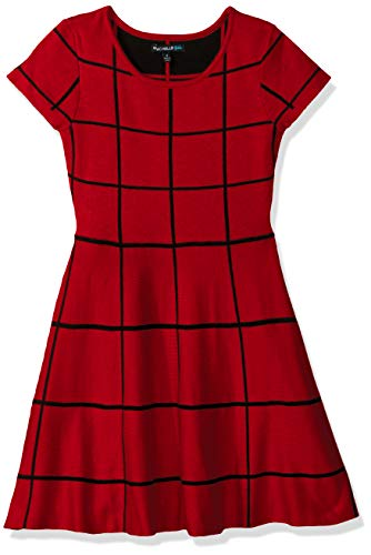 My Michelle Girls' Big Skater Dress, New Red/Black, L