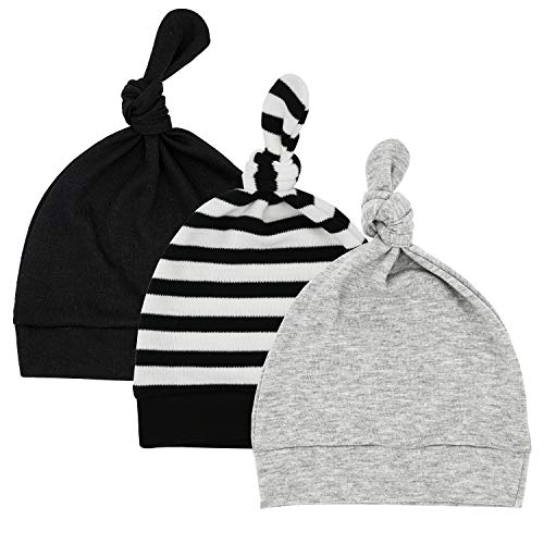 Sarfel Baby Hats Newborn Hats for Boys Infant Beanies Soft Warm Knot Baby Boy Hat Gifts for Newborn Babies Caps Unisex 3 Pack Black & Stripes & Grey