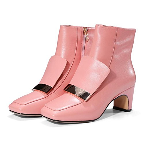 NVXIE Womens Ankle Boots Black Mid Block Heel Square Fashion Real Leather Work Prom PINK-EUR35UK3 WtsySM