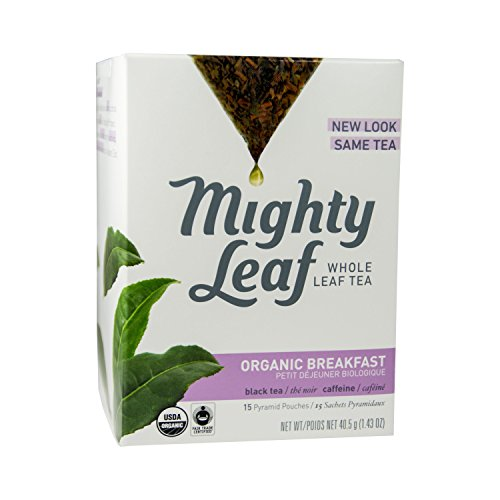 Silken Pyramid Sachets - Mighty Leaf Whole Leaf Organic Breakfast Tea, 15 Tea Bags Individual Pyramid-Style Tea Sachets of Organic Caffeinated Black, Delicious Hot or Iced, Sweetened or Plain