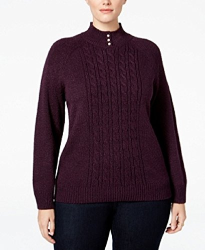 Karen Scott Womens Plus Cable Knit Textured Mock Turtleneck Sweater Purple 1X