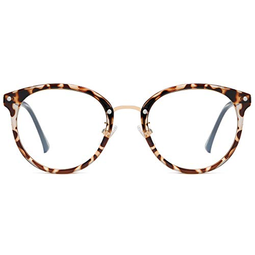 SOJOS Retro Round Blue Light Blocking Glasses TR90 Computer Eyeglasses Ashley SJ9001 with Leopard Print Frame/Anti-Blue Light Lens