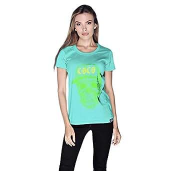 Creo Green Yellow Coco Skull T-Shirt For Women - L, Green