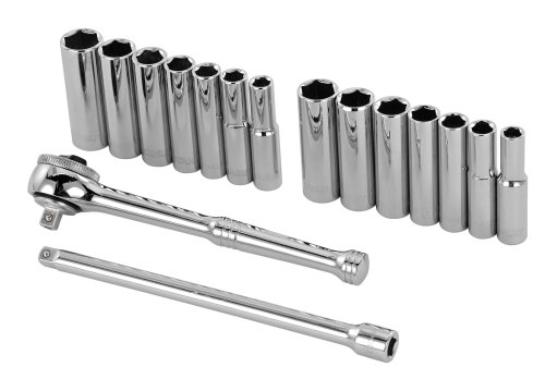 Stanley 89-199 16 Piece 1/4-Inch Drive 6-Point Socket Set (Deep Socket Wrench)
