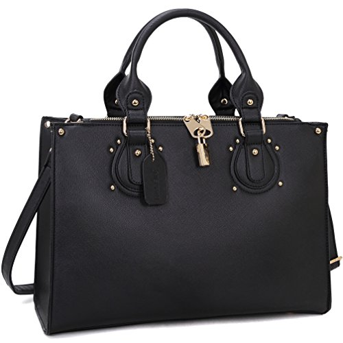 dasein-fashion-padlock-briefcase-satchel-handbag-tablet-ipad-bag-new-black