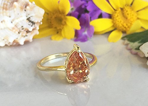 Champagne Crystal Ring - Gemstone Ring - Citrine Ring - Stacking Ring - November Birthstone Ring - Teardrop Ring - Simple (Rings : Champagne Citrine Ring)