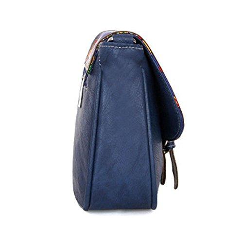 Bleu Besace Pochette porté Rétro épaule en Vintage PU Sac Messenger Bandoulière TSLS MARRON cuir Petite Sac Femme HwaPvqO