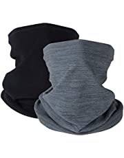 KGC 2 Pack Winter Neck Warmer Gaiter Fleece Windproof Face Mask Cover Cold Weather Scarf for Men & Women