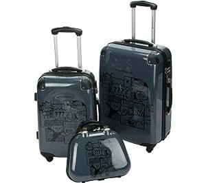 LULU CASTAGNETTE FNI - Juego de 2 maletas de 4 ruedas + beauty case 36cm gris (15090-3 GREY) (150903 GREY)