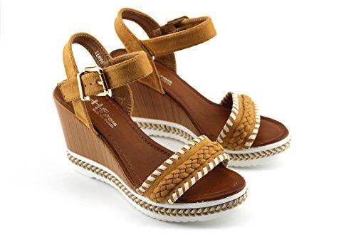 Modelisa - Sandalias Cuña Hebilla Mujer Camel