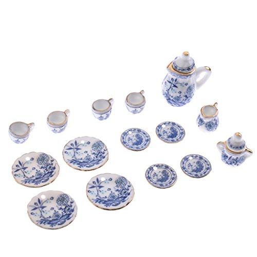 NON MagiDeal Miniaturas Juego de Té Chino de Cerámica Impresión de Flor Azul Decoración de 1/12 Dollhouse