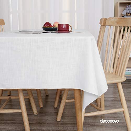 Deconovo Manteles Mesa de Salon Impermeable Moderno Jacquard Mantel Rectangular 130 x 160 cm Blanco