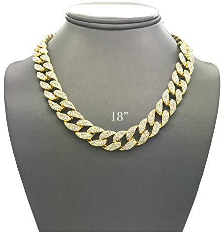 Pendants Cuban - Pyramid Jewelers Mens Iced Out Hip Hop Gold tone CZ Miami Cuban Link Chain Choker Necklace (18