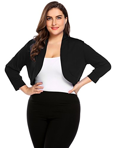 3/4 Length Sleeve Bolero (Zeagoo Women Plus Size Black Shrug 3/4 Sleeve Cropped Bolero Shrug Tops Shirts)
